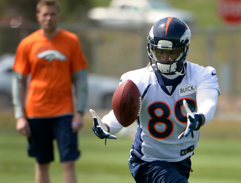 . Gerell Robinson (89) runs through drills with fellow rookies as the Denver Broncos host their rookie minicamp at Dove Valley in Englewood on Friday, May 16, 2014.  (Kathryn Scott Osler, The Denver Post)