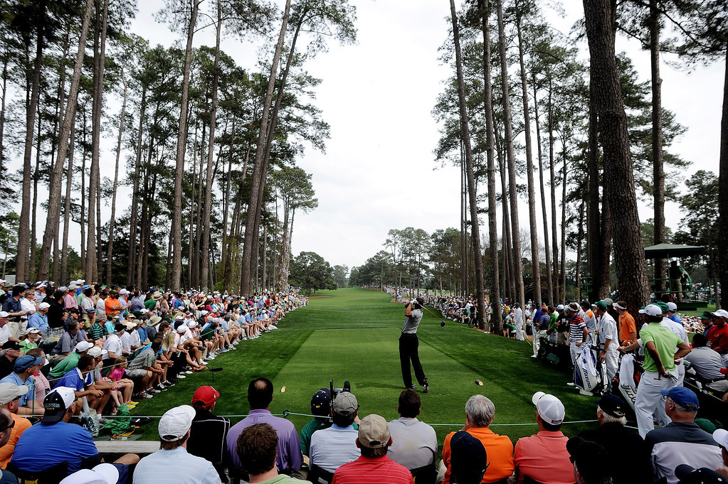 . Tiger Woods of the United States tees off on the 17th hole during the first round of the 2013 Masters Tournament at Augusta National Golf Club on April 11, 2013 in Augusta, Georgia.  (Photo by Harry How/Getty Images)