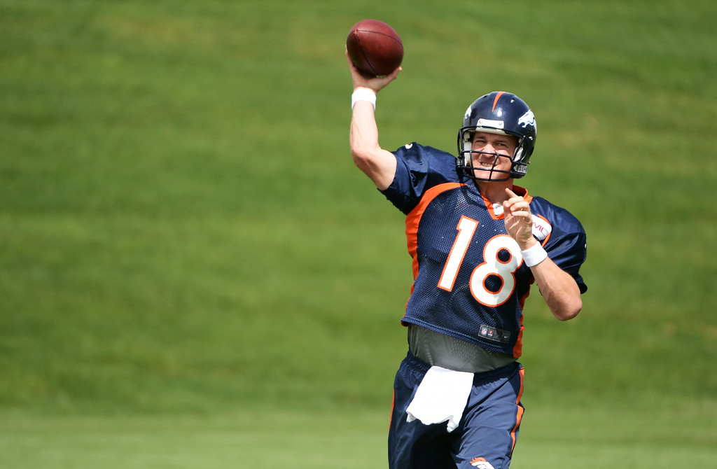 . Peyton Manning  of Denver Broncos (18) during the Denver Broncos 2014 training camp at Dove Valley, Englewood, Colorado, August 01, 2014. (Photo by Hyoung Chang/The Denver Post)