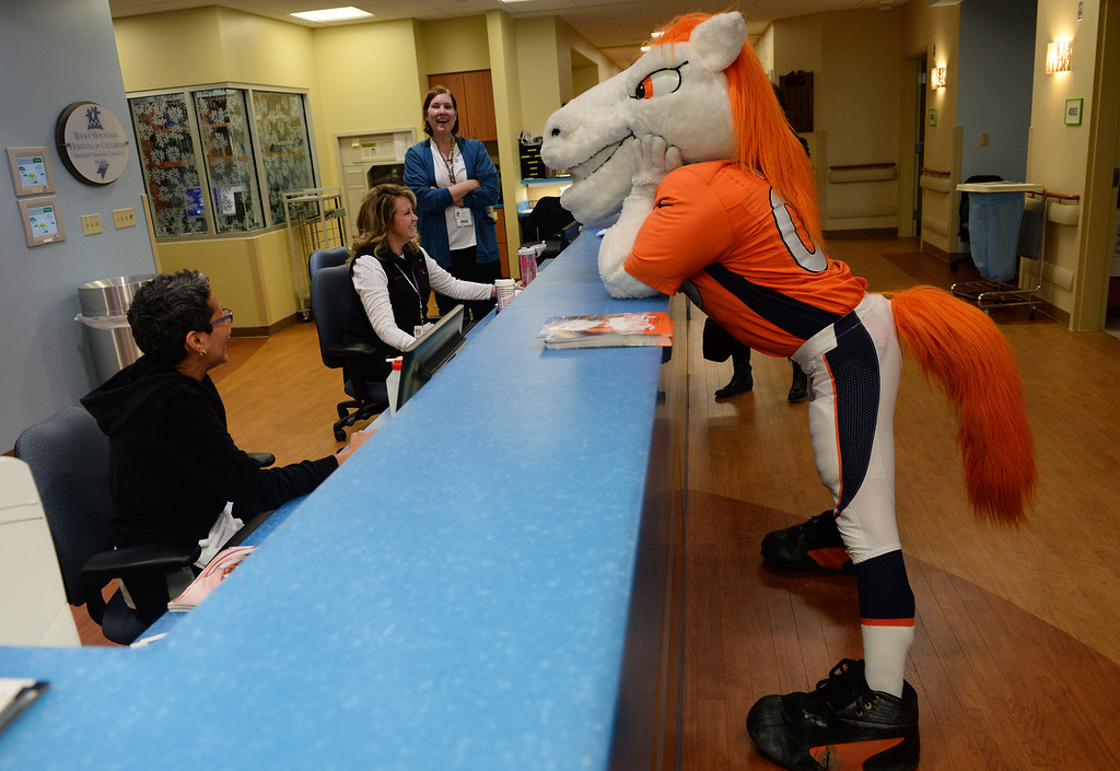 . Miles, the Broncos Mascot flirts with the nurses at the nurse station on the floor of the Neonatal  Intensive Care Unit at the  Rocky Mountain Hospital for Children in Denver, Co on January 14, 2014, before visiting with the children.   (Photo By Helen H. Richardson/ The Denver Post)