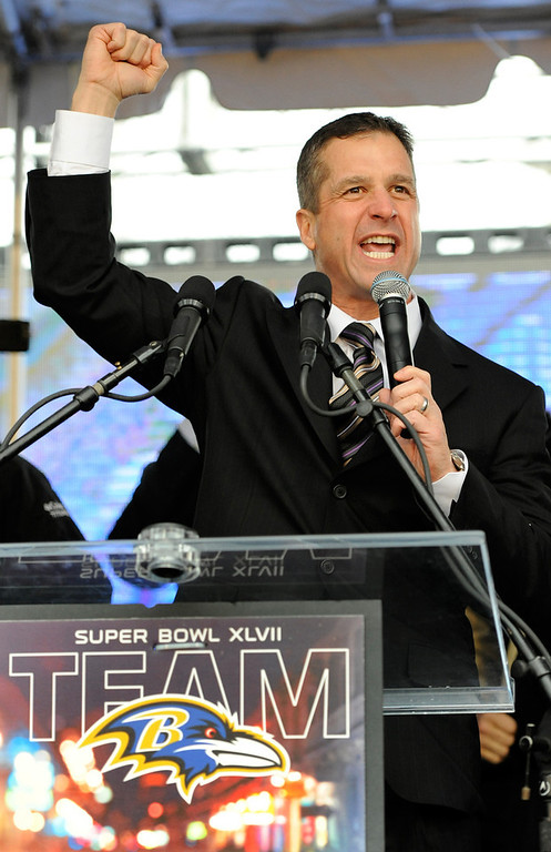 . Baltimore Ravens head coach John Harbaugh pumps his fist during a send-off rally Monday, Jan. 28, 2013 in Baltimore. The team was leaving for New Orleans to play against the San Francisco 49ers in the Super Bowl. (AP Photo/Steve Ruark)