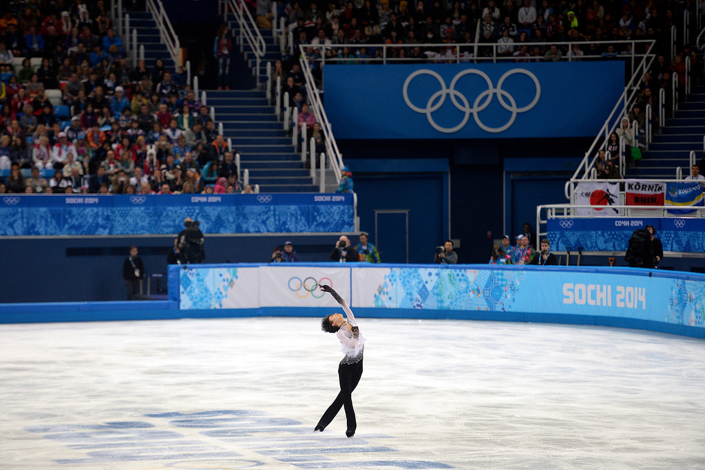 . SOCHI, RUSSIA - FEBRUARY 14: Gold medalist Yuzuru Hanyu during the men\'s figure skating free skate. Sochi 2014 Winter Olympics on Friday, February 14, 2014. (Photo by AAron Ontiveroz/The Denver Post)