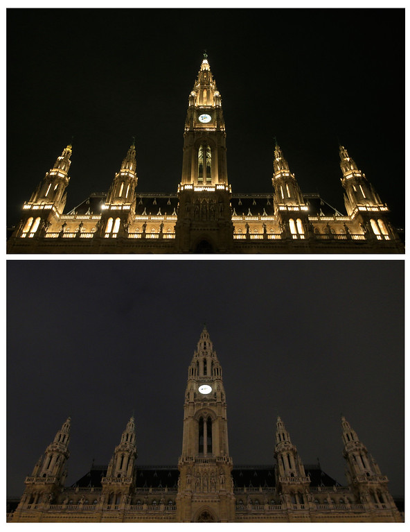 . This combo of pictures shows Vienna\'s Rathaus (Townhall) with lights on before (top) with lights turned on and during (below) the Earth Hour with the lights turned off in Vienna on March 23, 2013. Millions of people were expected to switch off their lights for Earth Hour in a global effort to raise awareness about climate change. Since it began in Sydney in 2007, Earth Hour has grown to become what environmental group WWF says is the world\'s largest demonstration of support for action on carbon pollution. ALEXANDER KLEIN/AFP/Getty Images