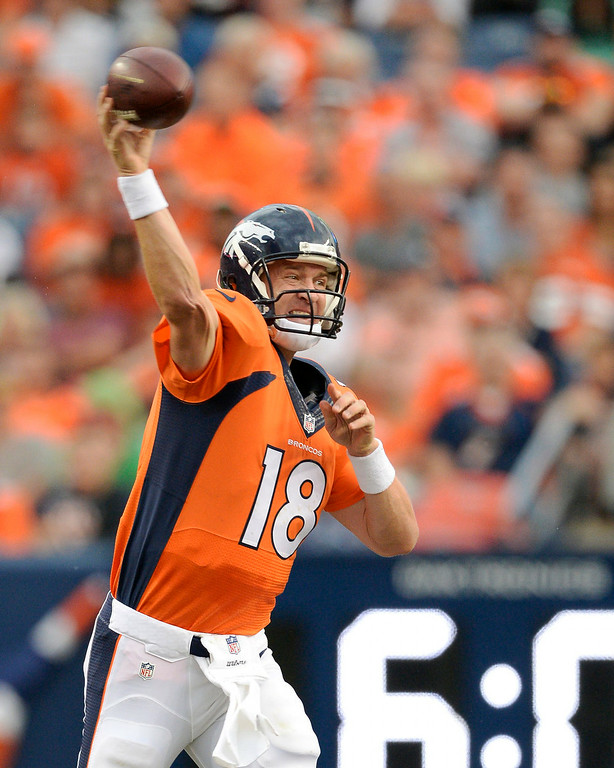 . Denver Broncos quarterback Peyton Manning (18) of the Denver Broncos throws a pass during the first quarter against the Seattle Seahawks August 7, 2014 at Sports Authority Field at Mile High Stadium.  (Photo by John Leyba/The Denver Post)