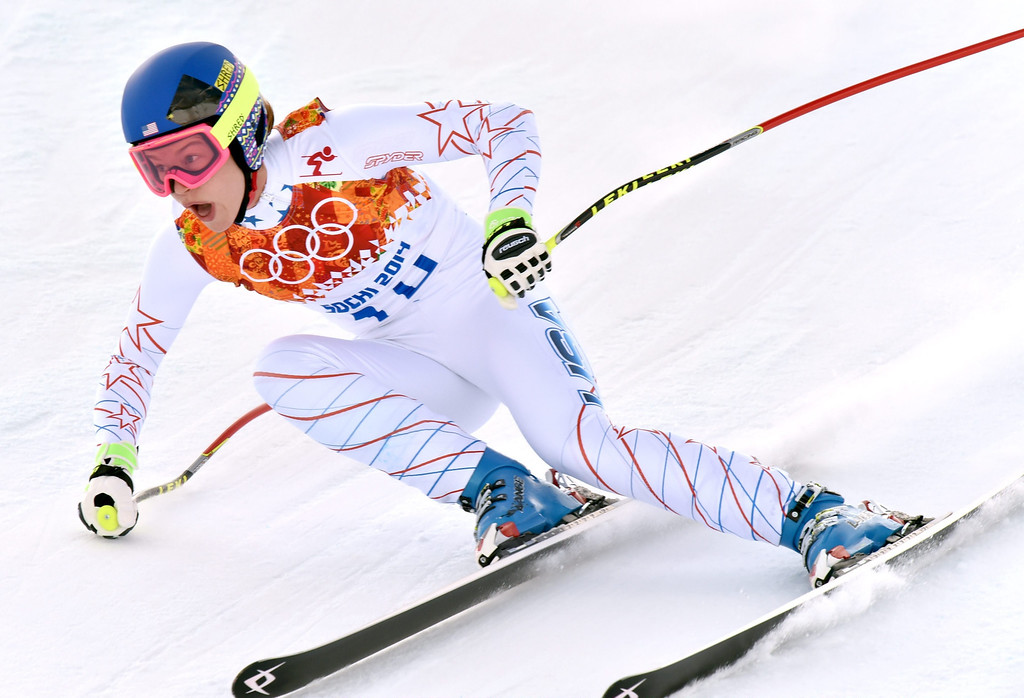 . Laurenne Ross of the US in action during the Downhill portion of the Women\'s Super Combined race at the Rosa Khutor Alpine Center during the Sochi 2014 Olympic Games, Krasnaya Polyana, Russia, 10 February 2014.  EPA/JUSTIN LANE
