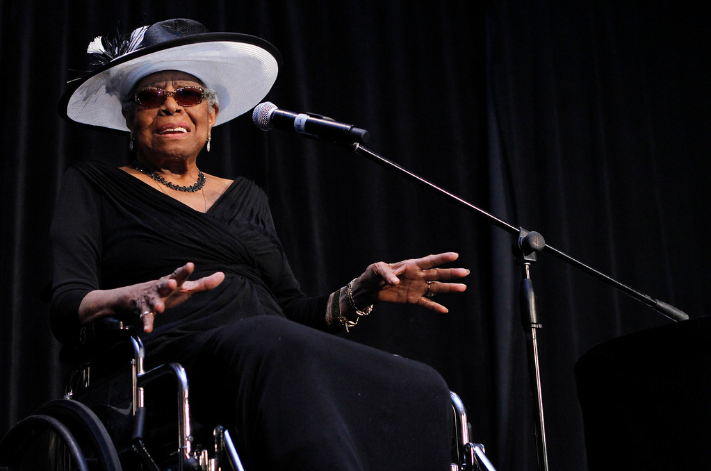 . In this June 25, 2011 file photo, Maya Angelou speaks during the 9th Annual Maya Angelou Women Who Lead Luncheon at the Westin Charlotte Hotel in uptown Charlotte, N.C. (AP Photo/Charlotte Observer, Maureen A. Coyle, File)