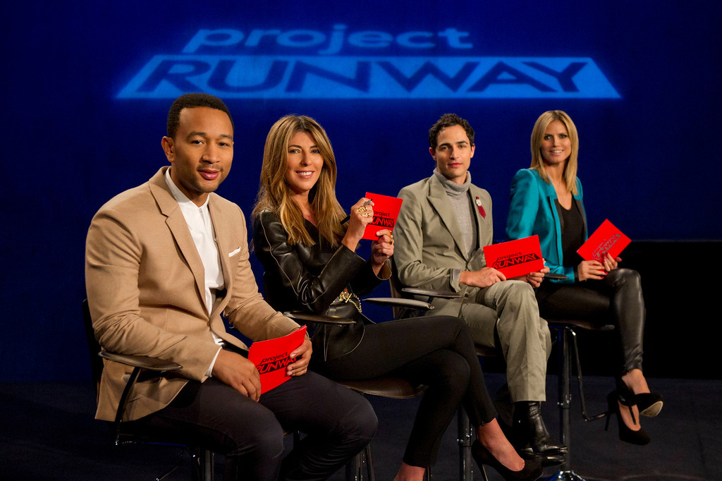 . Project Runway (L to R) Guest judge John Legend, Nina Garcia, Zac Posen and Heidi Klum judge Project Runway season 11, premiering Thursday, January 24, at 9pm ET/PT on Lifetime. Photo by Barbara Nitke Copyright 2011