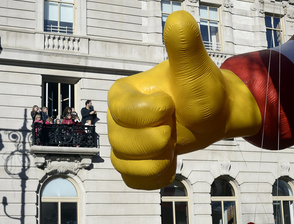 . The Ronald McDonald balloon makes its down Central Park West during the 87th Macy\'s Thanksgiving Day Parade in New York November 28, 2013. There was fear that the iconic balloos could have been grounded if windy conditions had picked up this morning.   TIMOTHY CLARY/AFP/Getty Images