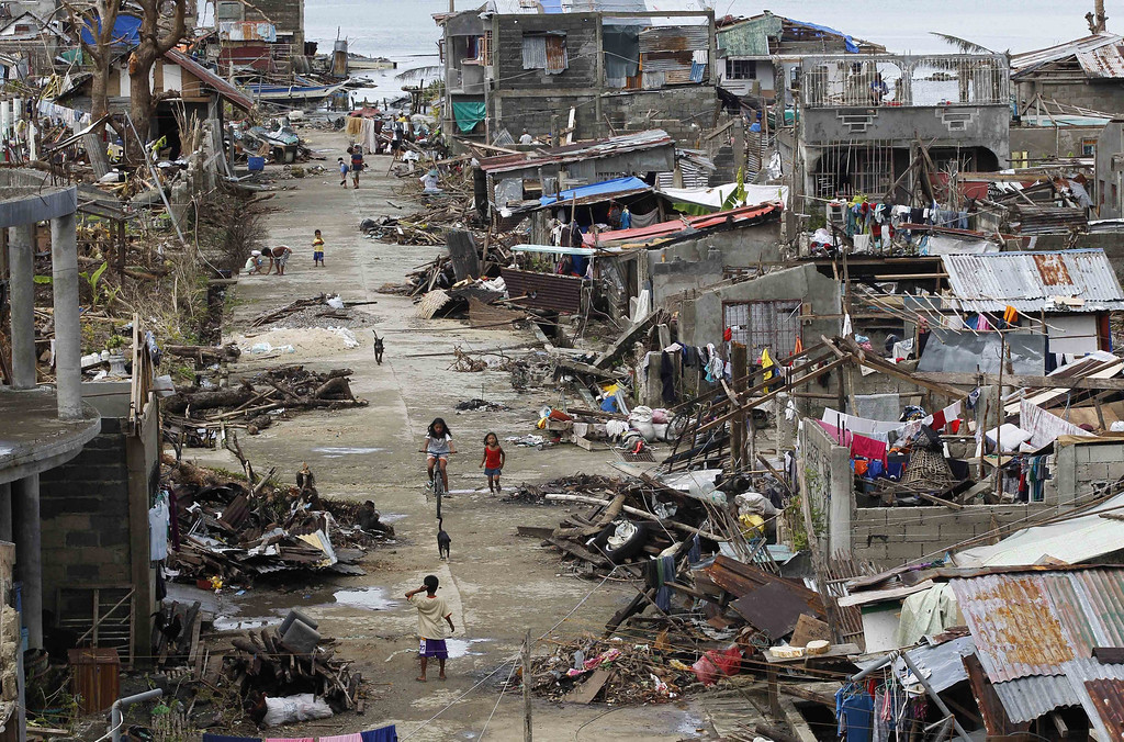 . A general view of the typhoon-damaged coastal town of Marabut of Eastern Samar Province, Philippines, 21 November 2013.   EPA/ROLEX DELA PENA