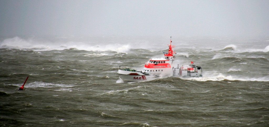 . A rescue vessel is on a control tour on a rough sea in front of the North Sea island Norderney, northern Germany, Thursday, Dec. 5, 2013. (AP Photo/dpa, Frank Kahl)