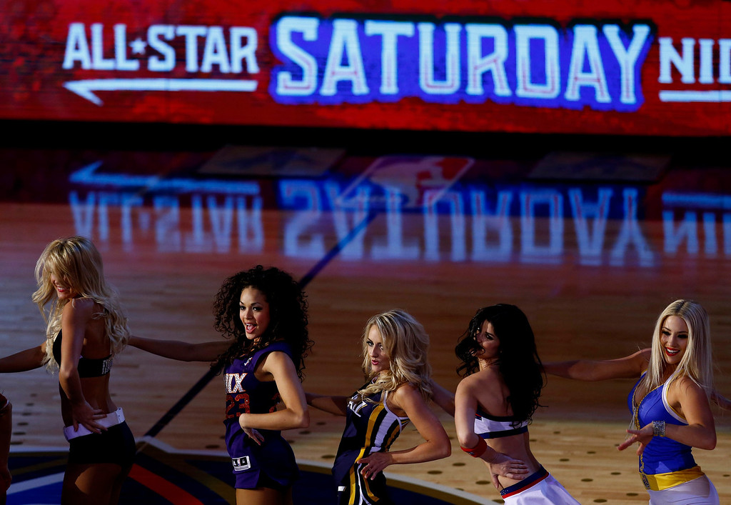. Cheerleaders perform following the Skills Challenge portion of the NBA All-Star Saturday Night festivities in New Orleans, Louisiana, USA, 15 February 2014.  EPA/DAN ANDERSON
