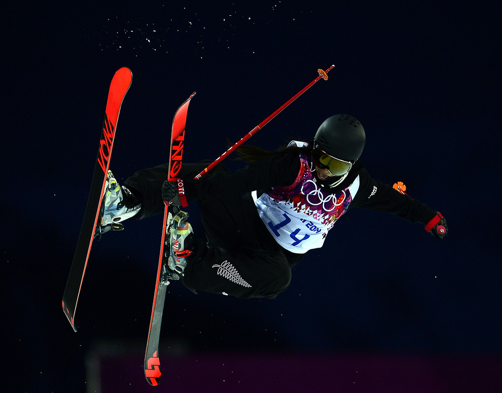 . New Zealand\'s Janina Kuzma competes in the Women\'s Freestyle Skiing Halfpipe qualifications at the Rosa Khutor Extreme Park during the Sochi Winter Olympics on February 20, 2014.  AFP PHOTO / JAVIER  SORIANO/AFP/Getty Images