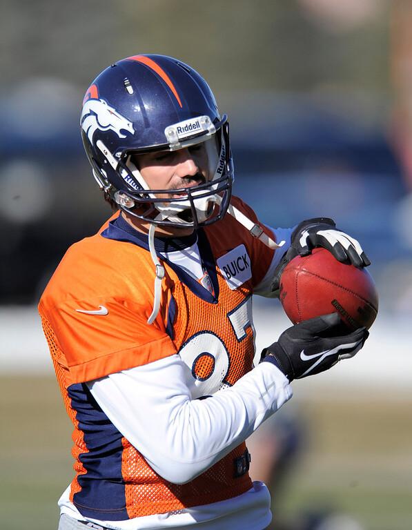 . Denver Broncos wide receiver Eric Decker (87)  catches a pass during practice Thursday, December 20, 2012 at Dove Valley.  John Leyba, The Denver Post