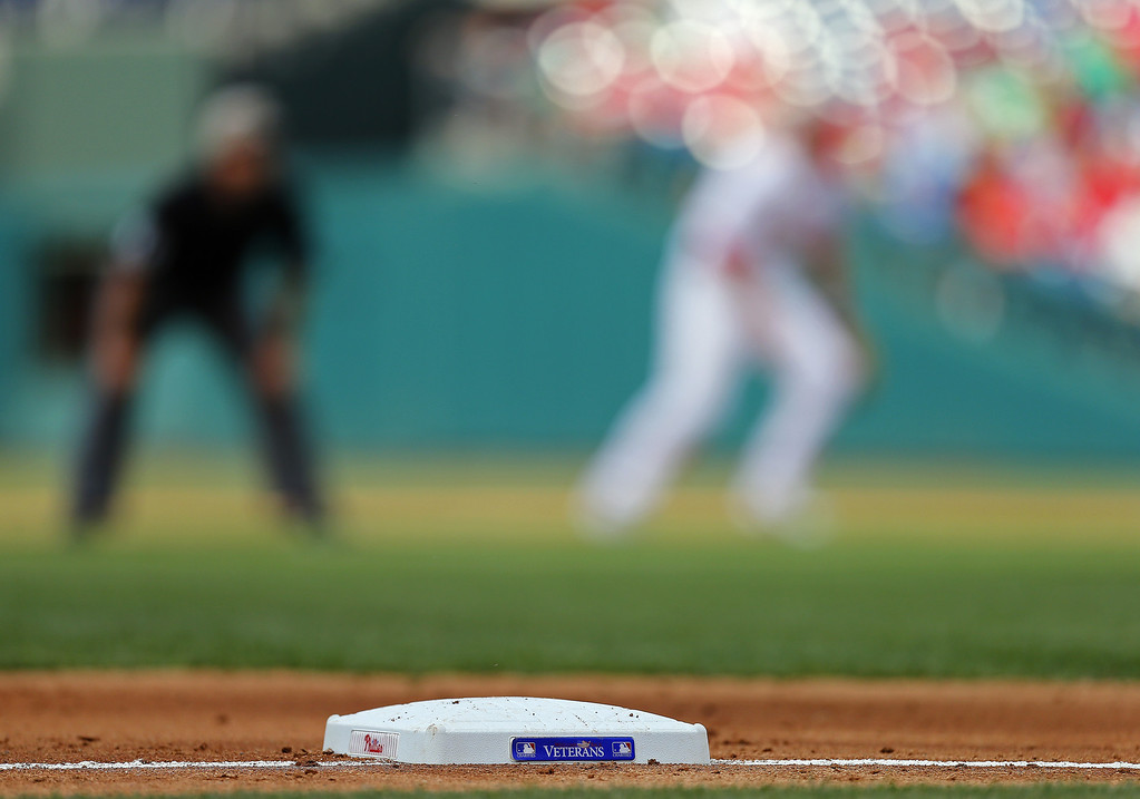 . PHILADELPHIA, PA - MAY 26: Special bases were used supporting Veterans Charities during a Memorial Day game between the Colorado Rockies and the Philadelphia Phillies at Citizens Bank Park on May 26, 2014 in Philadelphia, Pennsylvania. (Photo by Rich Schultz/Getty Images)