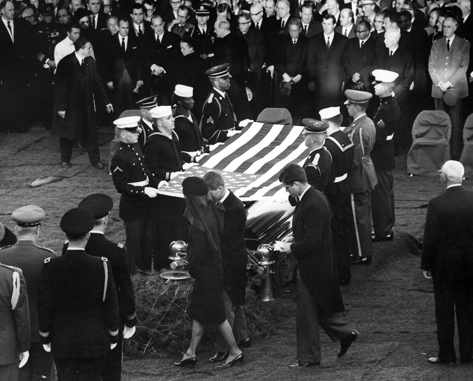 . Robert Kennedy, followed by Sen. Edward Kennedy, escorts Jacqueline Kennedy during the burial ceremony Nov. 25, 1963.  Abbie Rowe,  National Parks Service/John F. Kennedy Presidential Library and Museum