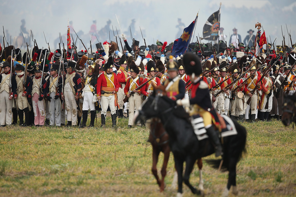. Historical society enthusiasts in the role of troops fighting for Napoleon retreat during the re-enactment of The Battle of Nations on its 200th anniversary on October 20, 2013 near Leipzig, Germany. (Photo by Sean Gallup/Getty Images)