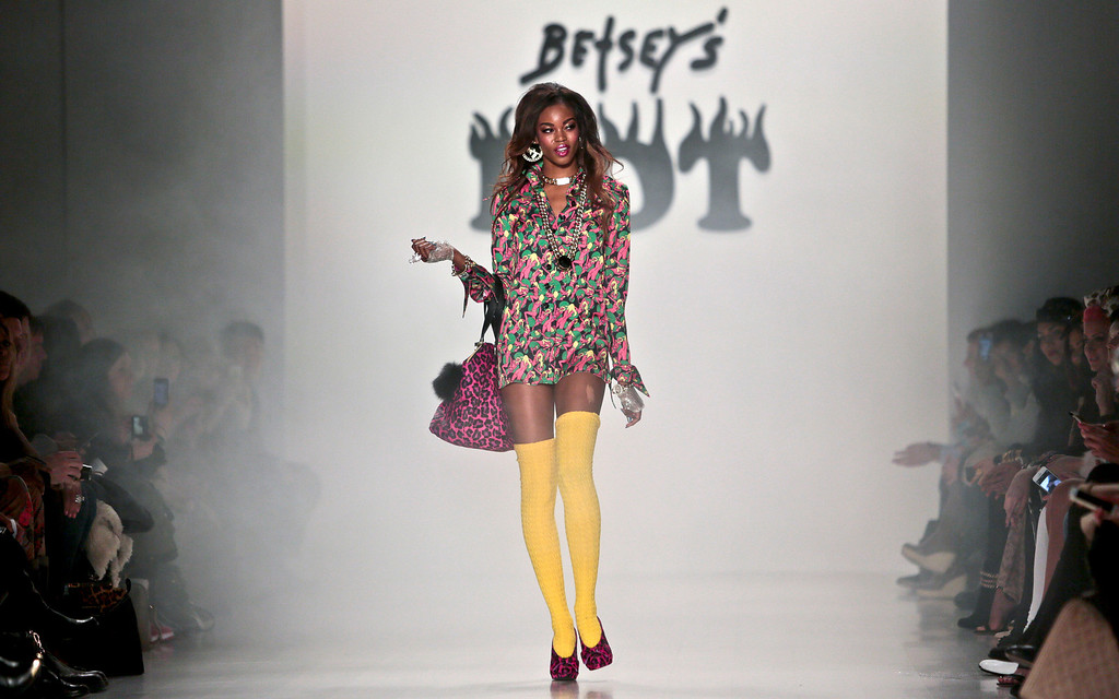 . Fashion from the Betsey Johnson Fall 2014 collection is modeled during New York Fashion Week on Wednesday, Feb. 12, 2014.  (AP Photo/Bebeto Matthews)