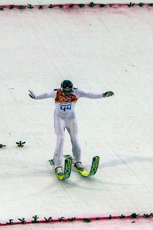 . Norway\'s Haavard Klemetsen competes in the Nordic combined individual Gundersen large hill competition at the Gorki Ski Jumping Center during the 2014 Sochi Olympics Tuesday February 18, 2014. Klemetsen finished in 9th place with a combined time of 23:44.0.  (Photo by Chris Detrick/The Salt Lake Tribune)