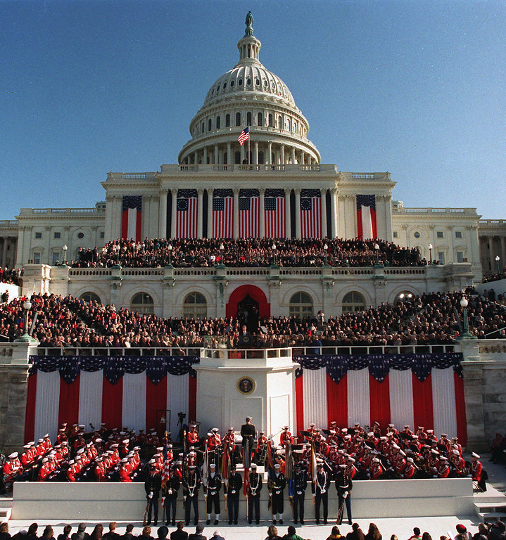 . President Clinton, center podium, delivers his inaugural address after being sworn in as the 42nd president of the United States on Jan. 20, 1993. Clinton was sworn-in for a second term in front of the Capitol on Monday, Jan. 20, 1997, along with Vice President Al Gore. (AP Photo/Ron Edmonds)