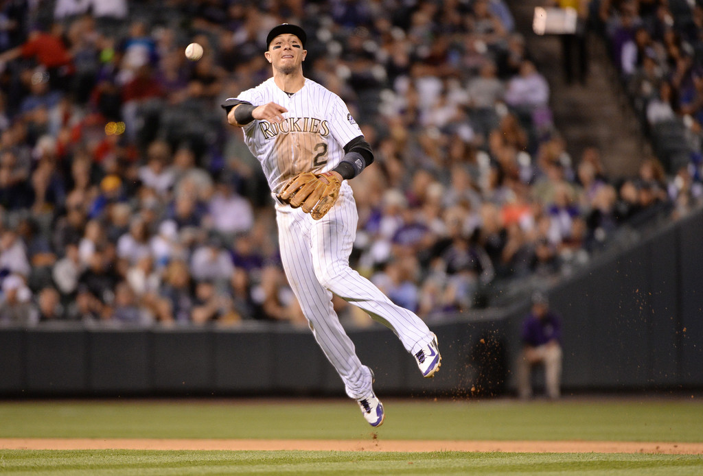 . DENVER JUNE 06: Troy Tulowitzki of the Colorado Rockies (2) is in action during the sixth inning of the game against the Los Angeles Dodgers at Coors Field in Denver, Colorado June 6, 2014. (Photo by Hyoung Chang/The Denver Post)