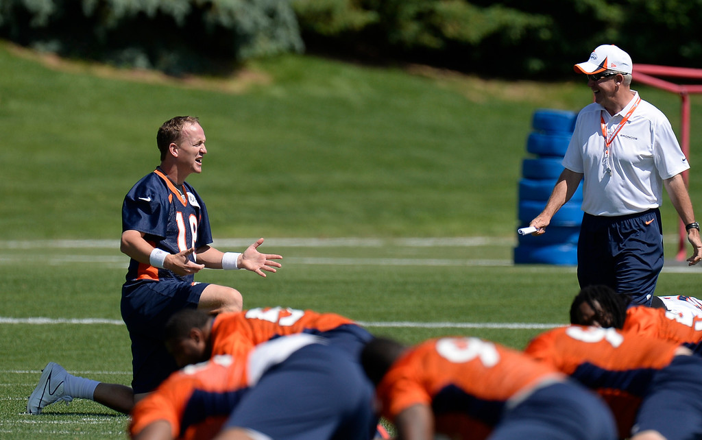 . Peyton Manning (18) of the Denver Broncos talks with head coach John Fox during the start of mini camp June 11, 2013 at Dove Valley. (Photo By John Leyba/The Denver Post)
