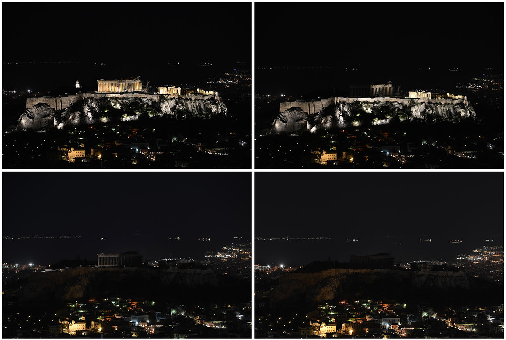 ". A combination picture shows (from top left to right) the ancient Temple of Parthenon atop the Acropolis hill before and during the Earth Hour in Athens on March 23, 2013. Iconic landmarks and skylines were plunged into darkness on Saturday as the ""Earth Hour\"" switch-off of lights around the world got under way to raise awareness of climate change. ARIS MESSINIS/AFP/Getty Images"