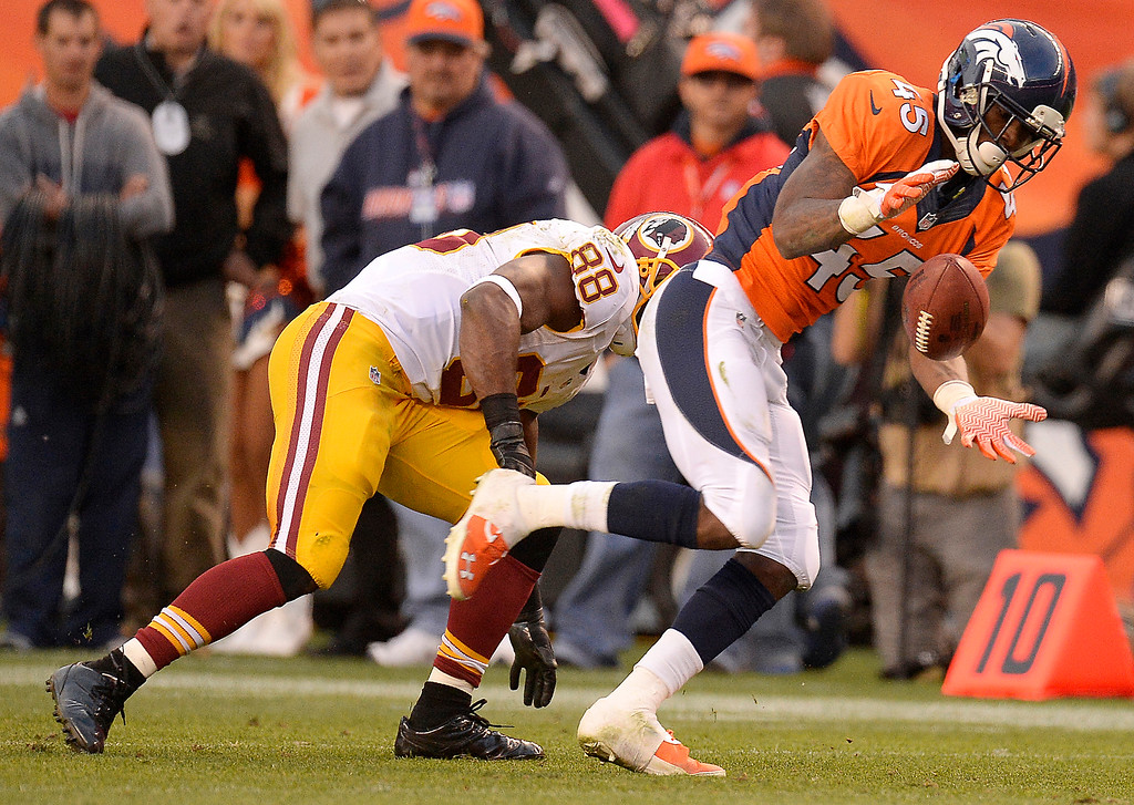 . Denver Broncos cornerback Dominique Rodgers-Cromartie (45) intercepts a pass in the fourth quarter.   (Photo by John Leyba/The Denver Post)