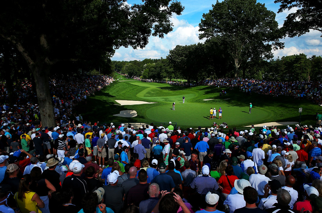 . ROCHESTER, NY - AUGUST 09:  A general view of the 13th green is seen as Keegan Bradley of the United States putts during the second round of the 95th PGA Championship on August 9, 2013 in Rochester, New York.  (Photo by Andrew Redington/Getty Images)