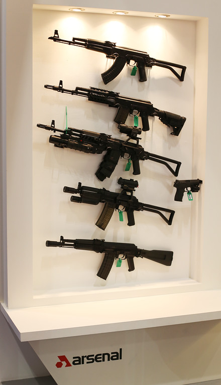 . Rifles are displayed at the Defense and Security Exhibition on September 10, 2013 in London, England.  (Photo by Peter Macdiarmid/Getty Images)