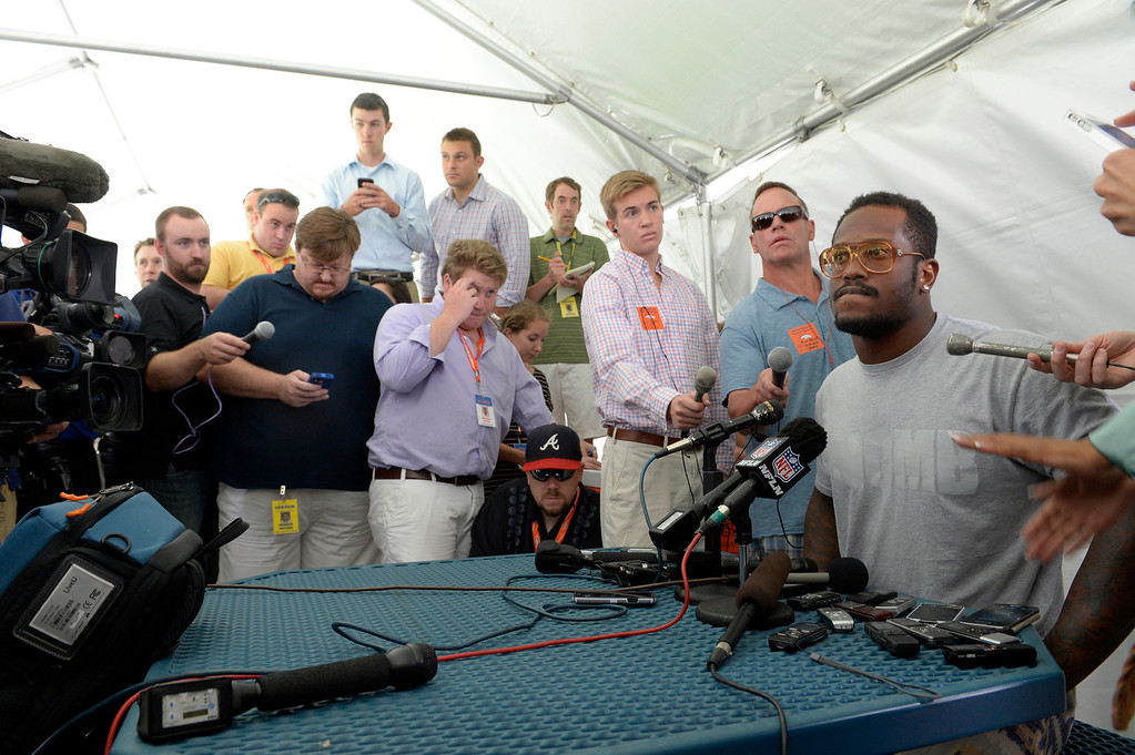 """. Denver Broncos SLB Von Miller meets with the media as the team reports to camp JuLY 24, 2013 at Dove Valley. In his opening remarks, \""""I wanted to stat off by saying that I\'m obviously aware of the situation surrounding me, but out of the respect for confidentiality and out of respect for this being an ongoing situation, I can\'t really touch on further details about it. I have filed an appeal with the NFL, obviously. I can touch on more detail whenever the subject is resolved\"""" (Photo By John Leyba/The Denver Post)"""