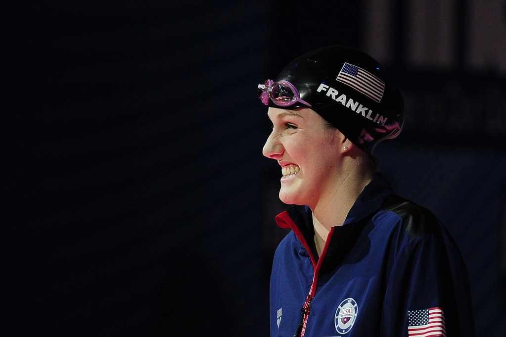 . US swimmer Missy Franklin smiles before the final of the women\'s 100-metre backstroke swimming event in the FINA World Championships at Palau Sant Jordi in Barcelona on July 30, 2013.  JOSEP LAGO/AFP/Getty Images