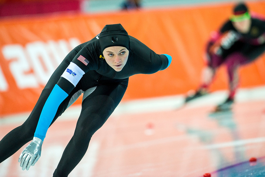 . U.S. speed skater Heather Richardson competes in the women\'s 1,500 meter race at Adler Arena Skating Center during the 2014 Sochi Olympics Sunday February 16, 2014. Richardson finished in seventh place with a time of 1:57.60.  (Photo by Chris Detrick/The Salt Lake Tribune)