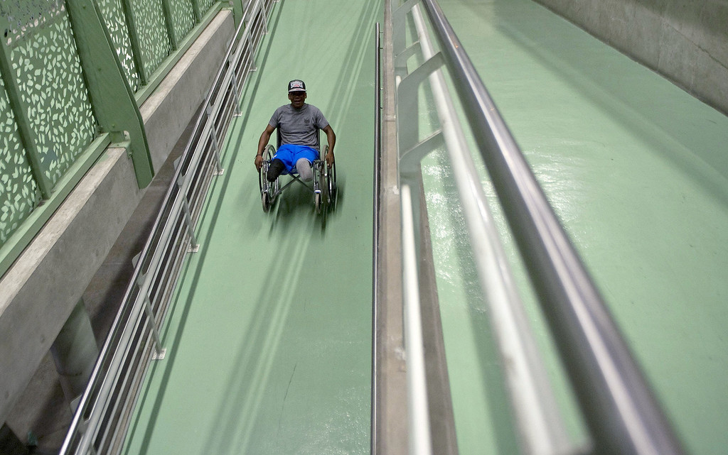 . Colombian soldier Aldemar Benitez, 23, leaves after his rehabilitation therapy session at the Heroes de Paramillo hospital.  RAUL ARBOLEDA/AFP/Getty Images
