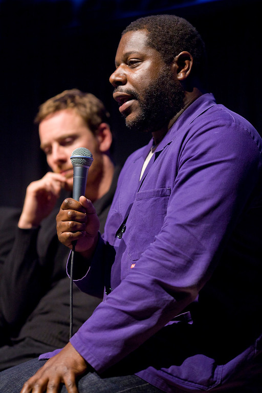 """. Left to right: actor Michael Fassbinder and director Steven McQueen during the Q&A after the world premiere screening of \""""12 Years a Slave.\"""" Photo by Pamela Gentile, Provided by the Telluride Film Festival"""