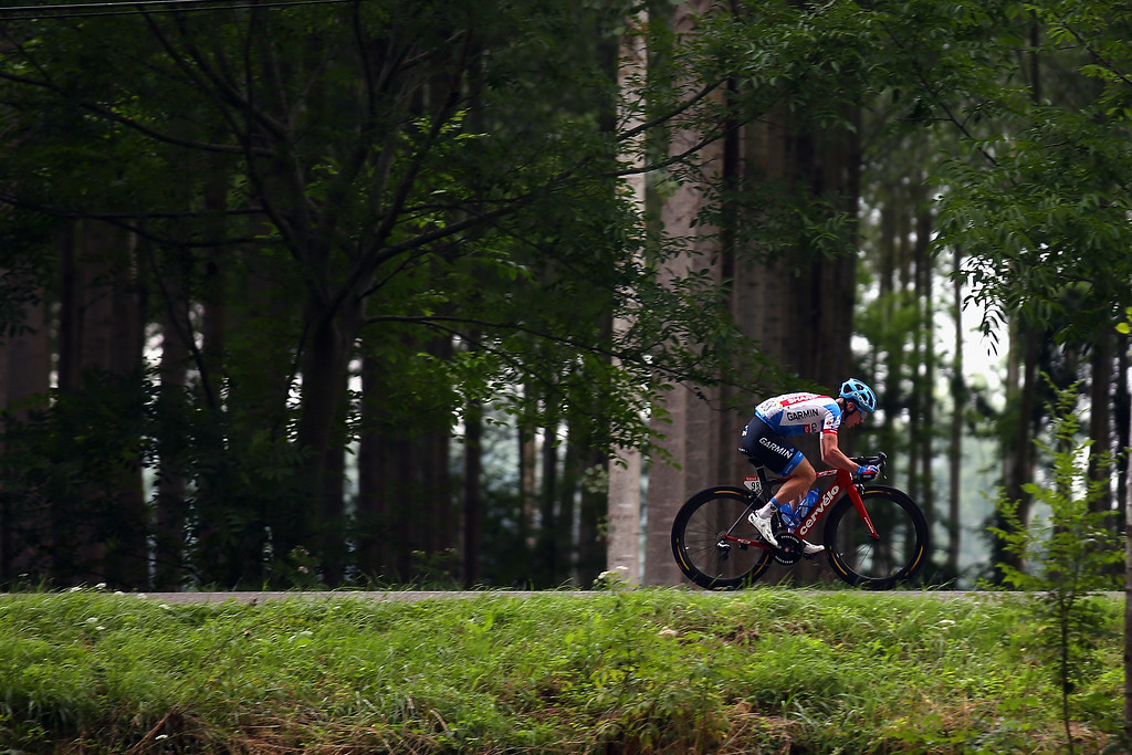 . Tom Jelte Slagter of The Netherlands and Team Garmin-Sharp in action during the nineteenth stage of the 2014 Tour de France, a 208km stage between Maubourguet Pays du Val d\'Adour and Bergerac, on July 25, 2014 in Bergerac, France.  (Photo by Bryn Lennon/Getty Images)