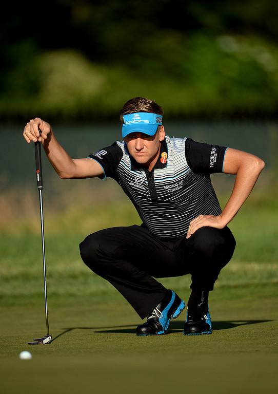 . Luke Donald of England lines up a putt on the 15th green during the continuation of Round Two of the 113th U.S. Open at Merion Golf Club on June 15, 2013 in Ardmore, Pennsylvania.  (Photo by Ross Kinnaird/Getty Images)