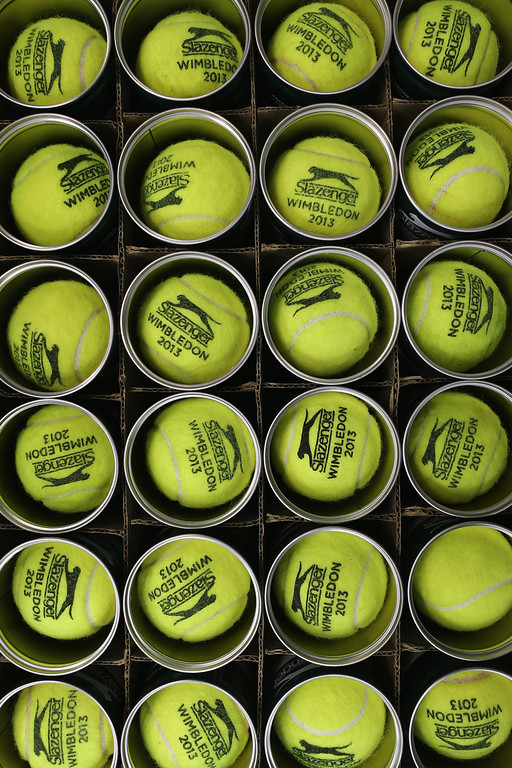 . Used tennis balls are boxed up on day two of the Wimbledon Lawn Tennis Championships at the All England Lawn Tennis and Croquet Club on June 25, 2013 in London, England.  (Photo by Dan Kitwood/Getty Images)