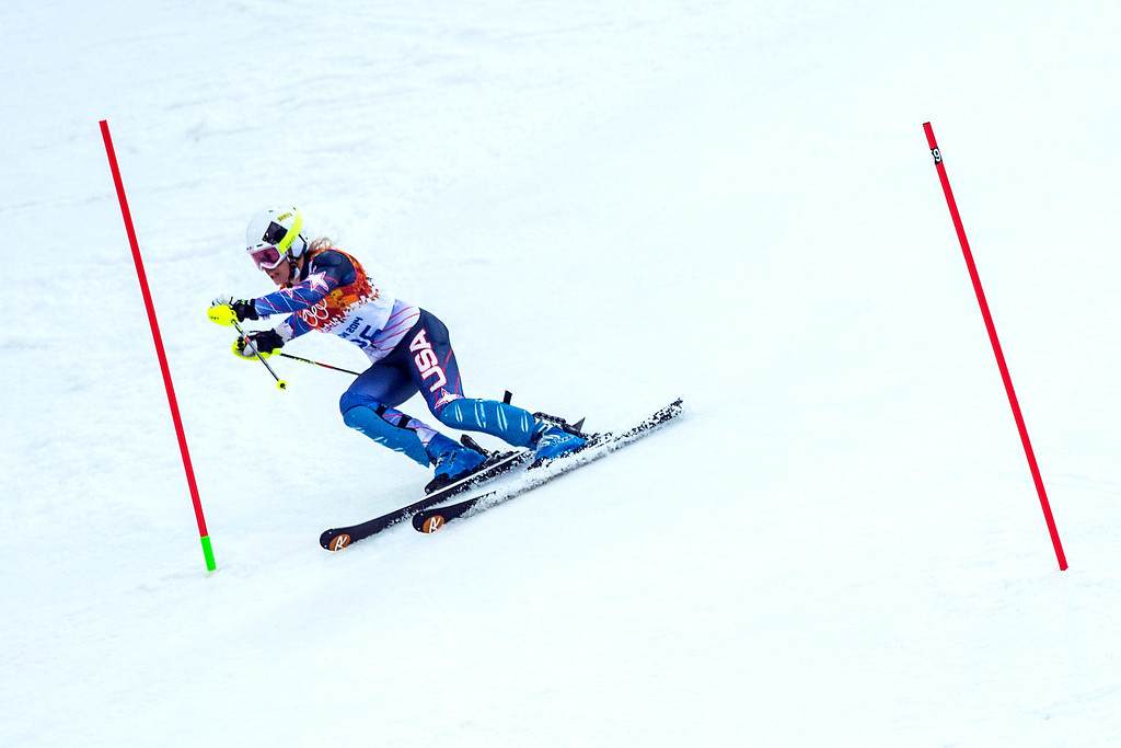 . KRASNAYA POLYANA, RUSSIA  - JANUARY 21: Resi Stiegler competes in run 1 of the women\'s slalom competition at Rosa Khutor Alpine Center during the 2014 Sochi Olympics Friday February 21, 2014. Stiegler is currently in 20th place with a time of 56.81. (Photo by Chris Detrick/The Salt Lake Tribune)