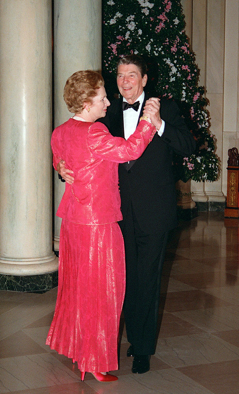 ". A picture dated November 16, 1988 shows then British Prime Minister Margaret Thatcher dancing with then US President Ronald Reagan following a state dinner given in her honor at the White House. Former British prime minister Margaret Thatcher, the ""Iron Lady\"" who shaped a generation of British politics, died following a stroke on April 8, 2013 at the age of 87, her spokesman said. M. SPRAGUE/AFP/Getty Images"