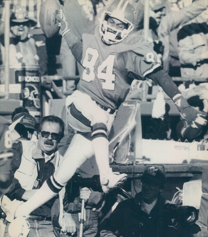 . This game is best remembered for The Fumble when Browns running back Earnest Byner fumbled at the Broncos\' 2-yard line with 1:05 left. Denver held on to win the game 38-33.   Ricky Nattiel of the Denver Broncos celebrates after scoring a touchdown against the Cleveland Browns in the AFC Championship game. Credit: AP