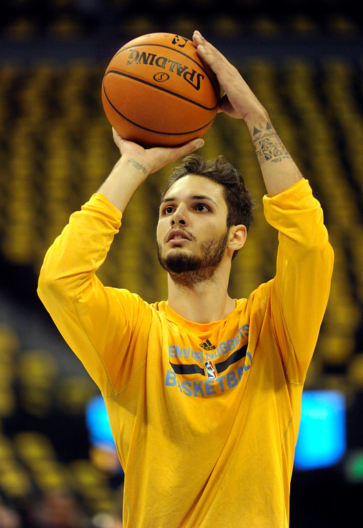 . DENVER, CO. - NOVEMBER 1:  Denver guard Evan Fournier warmed up before the game. The Denver Nuggets hosted the Portland Trail Blazers Friday night, November 1, 2013 at the Pepsi Center.  Photo By Karl Gehring/The Denver Post