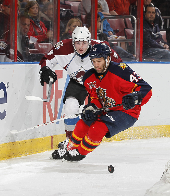. SUNRISE, FL - JANUARY 24: Matt Duchene #9 of the Colorado Avalanche chases Mike Weaver #43 of the Florida Panthers for the loose puck during second period action at the BB&T Center on January 24, 2014 in Sunrise, Florida. (Photo by Joel Auerbach/Getty Images)