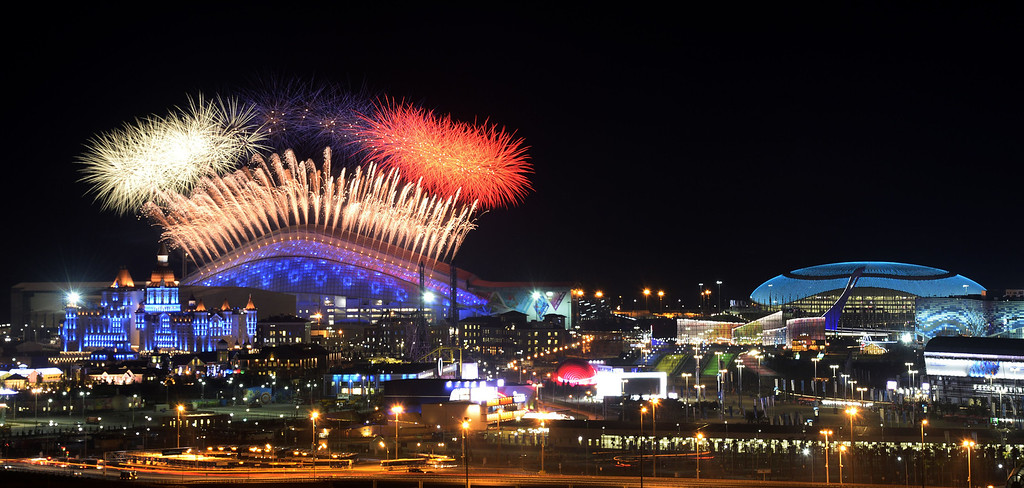 . Fireworks explode over the Fisht Olympic Stadium at the beginning of the Opening Ceremony of the Sochi Winter Olympics on February 7, 2014 in Sochi. AFP PHOTO / ALEXANDER  NEMENOV/AFP/Getty Images