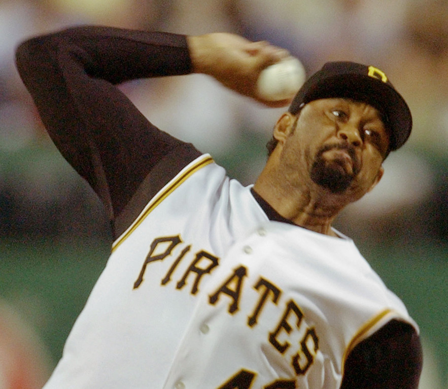 . JOSE MESA -- Pittsburgh Pirates\' closer Jose Mesa throws in the ninth inning against the St. Louis Cardinals en route to his 18th save in as many chances on June 29, 2004 in Pittsburgh.   (AP Photo/Gene J. Puskar)