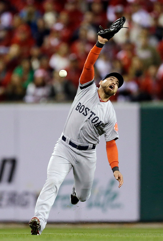 . Boston Red Sox\'s Jacoby Ellsbury can\'t catch a ball hit by St. Louis Cardinals\' Matt Holliday during the third inning of Game 3 of baseball\'s World Series Saturday, Oct. 26, 2013, in St. Louis. (AP Photo/Jeff Roberson)