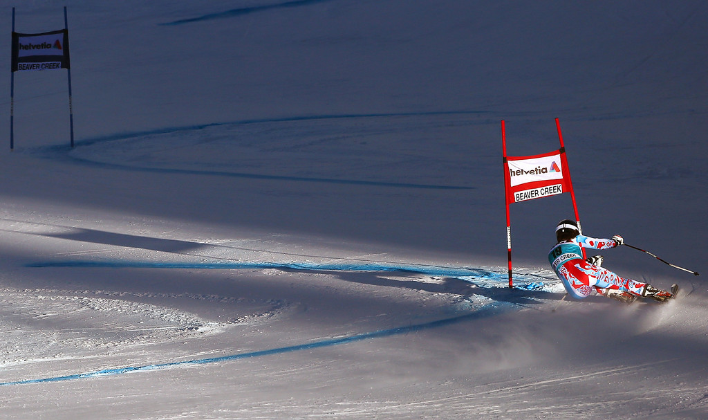 . France\'s Anemone Marmottan heads down course during the first run of the women\'s World Cup giant slalom skiing event, in Beaver Creek, Colo., Sunday, Dec. 1, 2013. (AP Photo/Alessandro Trovati)