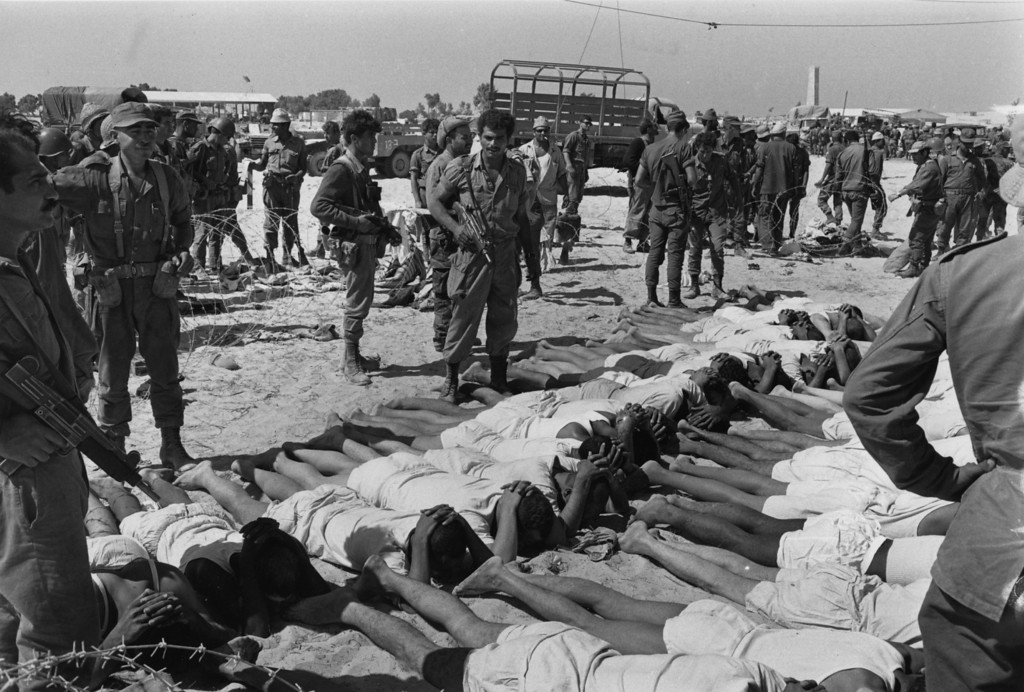. A line of Egyptian prisoners, captured during the Israeli advance.    (Photo by Terry Fincher/Getty Images)