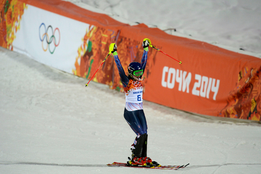 . Gold medalist American Mikaela Shiffrin reacts to winning ladies\' slalom run 2. Sochi 2014 Winter Olympics on Friday, February 21, 2014 at Rosa Khutor Alpine Center. (Photo by AAron Ontiveroz/ The Denver Post)