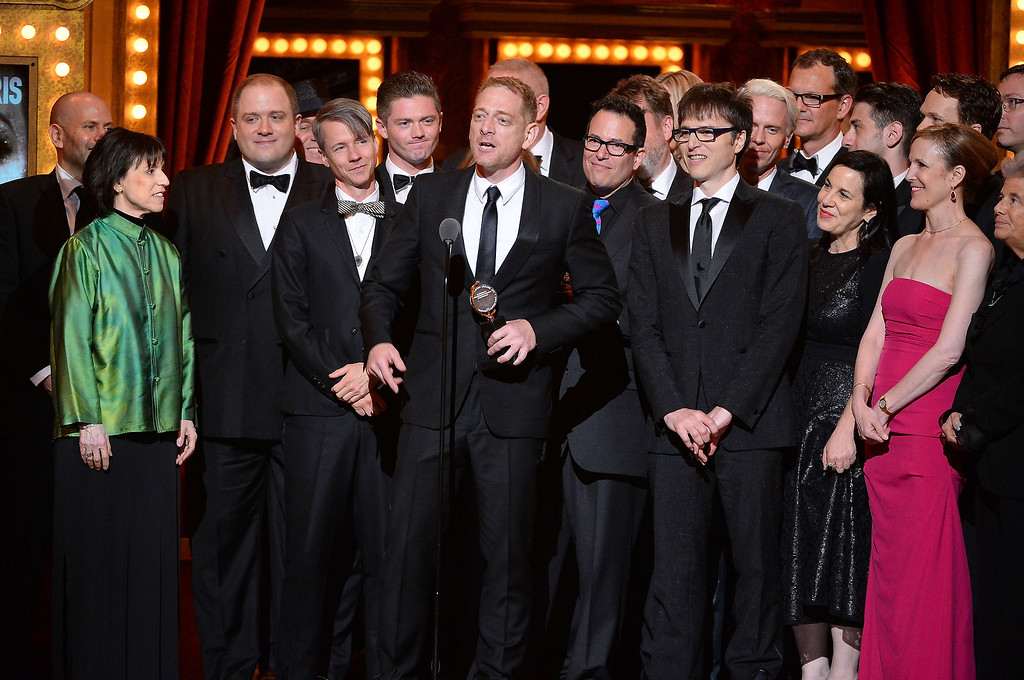 """. Producer David Binder accepts the award for Best Revival of a Musical with the cast of \""""Hedwig and the Angry Inch\"""" onstage during the 68th Annual Tony Awards at Radio City Music Hall on June 8, 2014 in New York City.  (Photo by Theo Wargo/Getty Images for Tony Awards Productions)"""