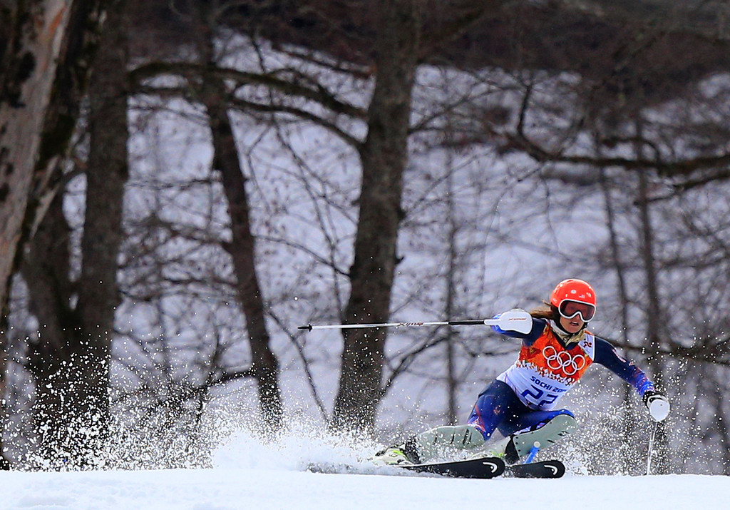 . US skier Julia Mancuso competes during the Women\'s Alpine Skiing Super Combined Slalom at the Rosa Khutor Alpine Center during the Sochi Winter Olympics on February 10, 2014.  AFP PHOTO / ALEXANDER KLEIN/AFP/Getty Images